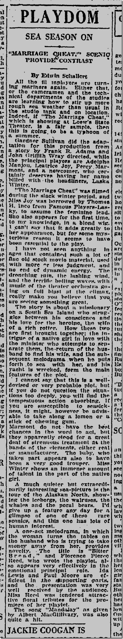 May 12, 1924, Marriage Cheat