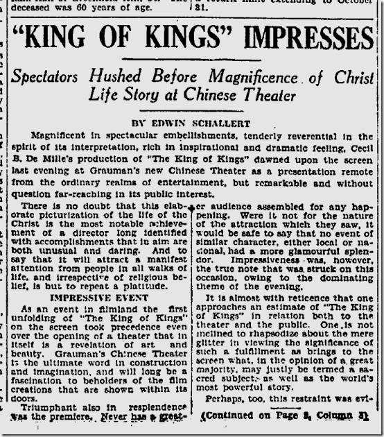 May 19, 1927, King of Kings