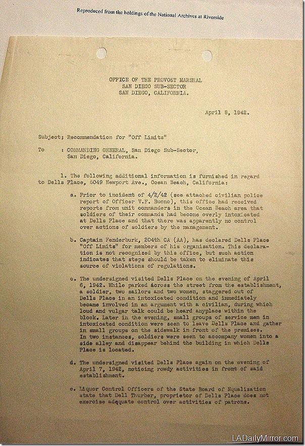 April 8, 1942, Dell's Place