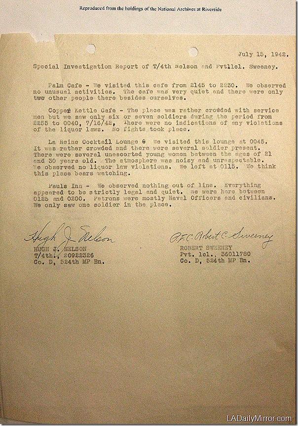 July 15, 1942, Bar Report