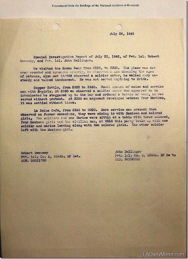 July 26, 1942, Bar Report