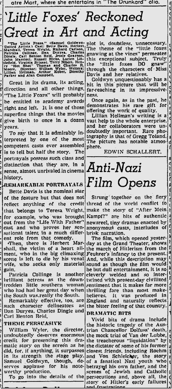 Aug. 12, 1941, Little Foxes