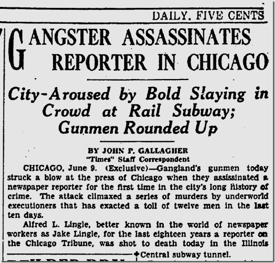 June 10, 1930, Jake Lingle