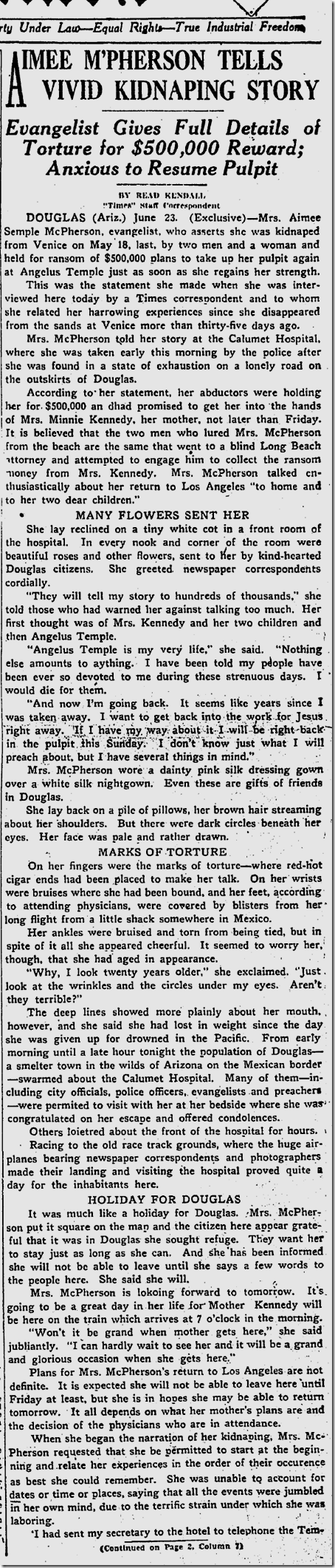 June 24, 1926, Aimee Semple McPherson