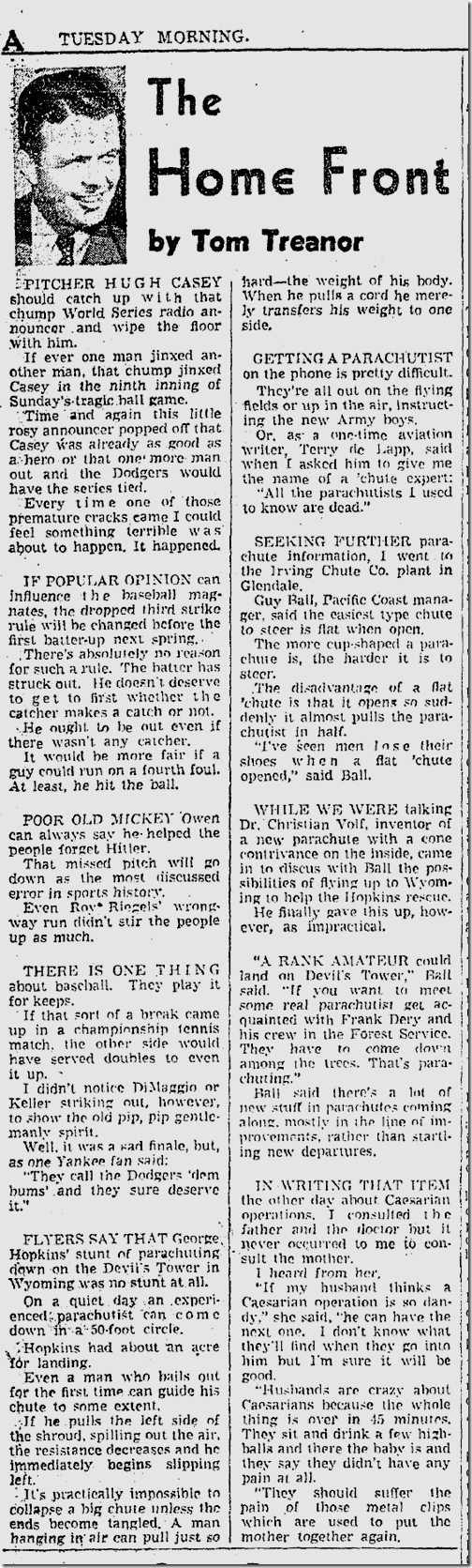Oct. 7, 1941, Tom Treanor