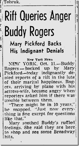 Oct 12, 1941, Buddy Rogers and Mary Pickford