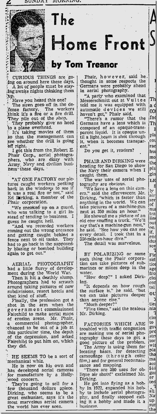 Oct. 19, 1941, Tom Treanor