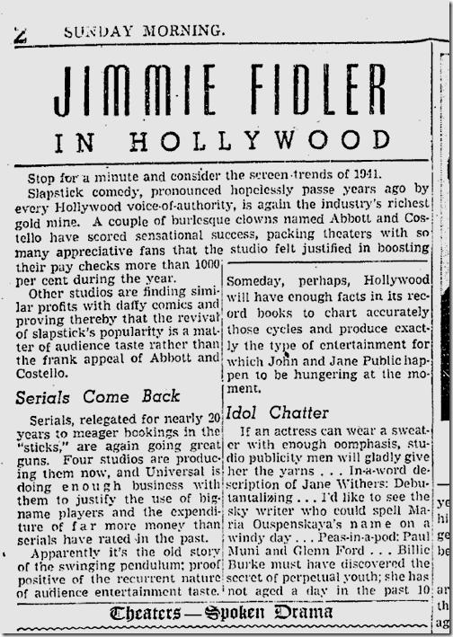 Oct. 19, 1941, Jimmie Fidler