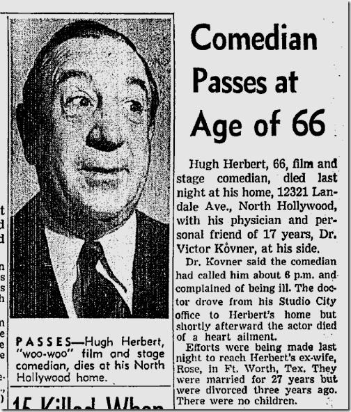 March 13, 1952, Hugh Herbert