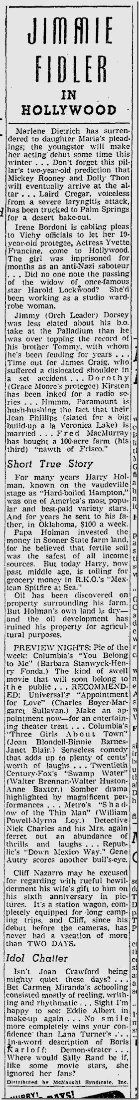 Oct. 28, 1941, Jimmie Fidler