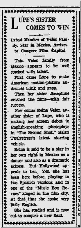 Nov. 1, 1931, Reina Velez