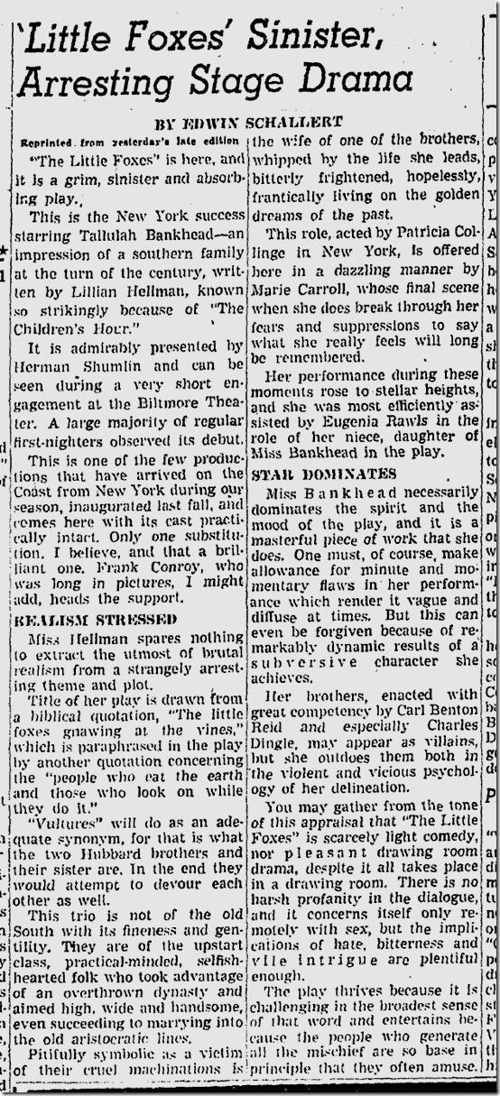 Jan. 15, 1941, Little Foxes