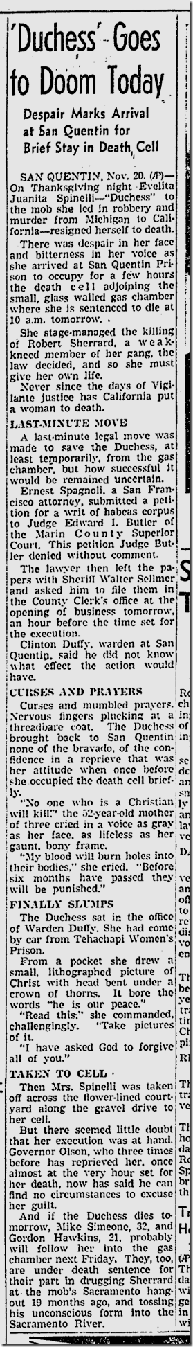 "Noc. 21, 1941, Juanita ""The Duchess"" Spinelli"