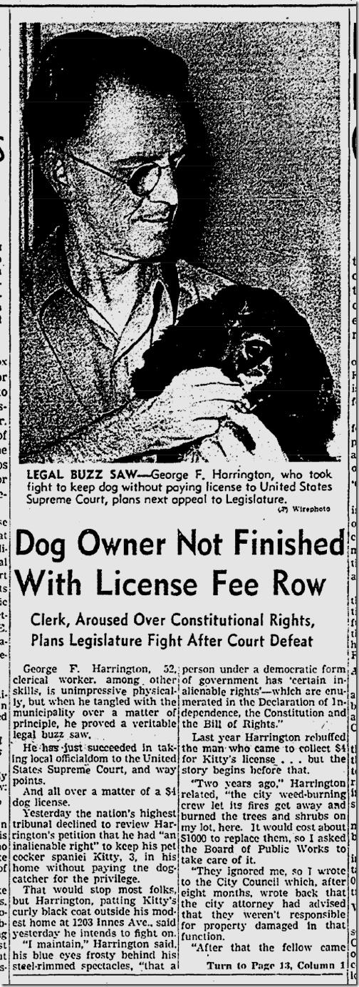 Nov. 26, 1941, Dog License