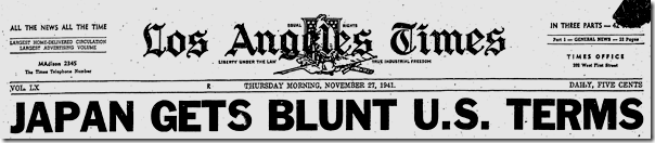 Nov. 27, 1941, Japan Gets Blunt Terms