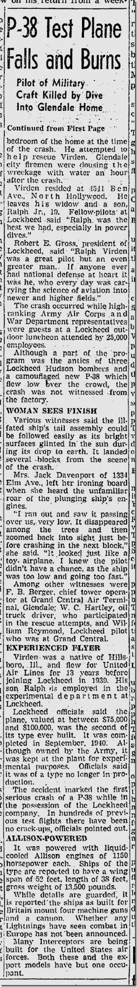 Nov. 5, 1941, P-38 Crashes Into House