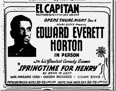 Nov. 30, 1941, Springtime for Henry