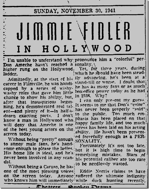 Nov. 30, 1941, Jimmie Fidler