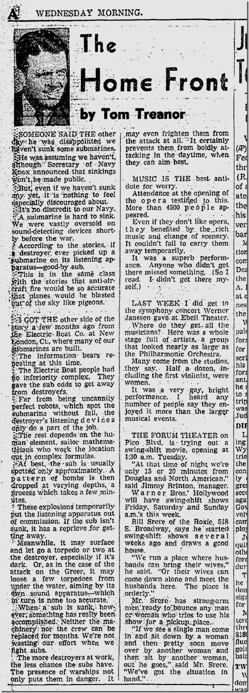 Nov. 5, 1941, Tom Treanor