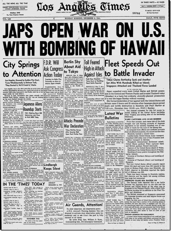 Dec. 8, 1941, Pearl Harbor