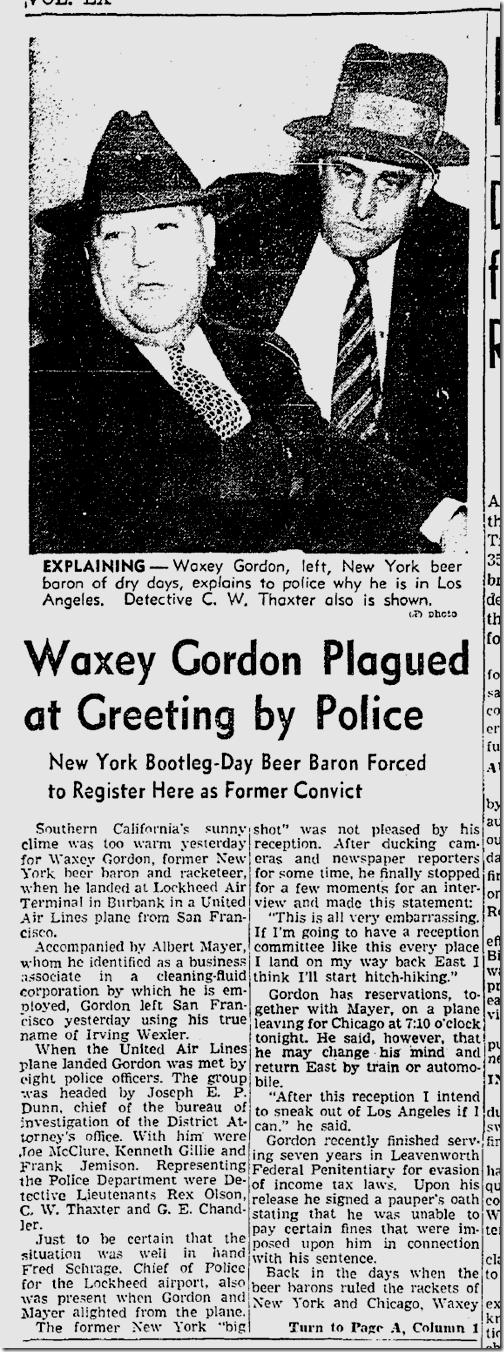 Nov. 7, 1941, Waxey Gordon