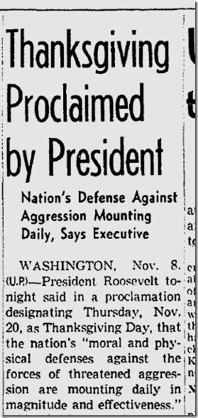 Nov. 9, 1941, Thanksgiving