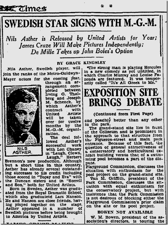 Feb. 2, 1928, Nils Asther