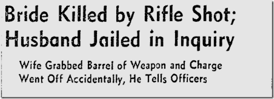 Nov. 10, 1941, Bride Killed