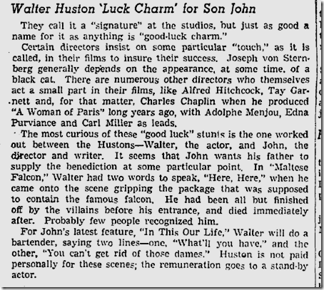 Nov. 12, 1941, Walter Huston