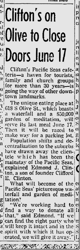 June 9, 1960, Clifton's