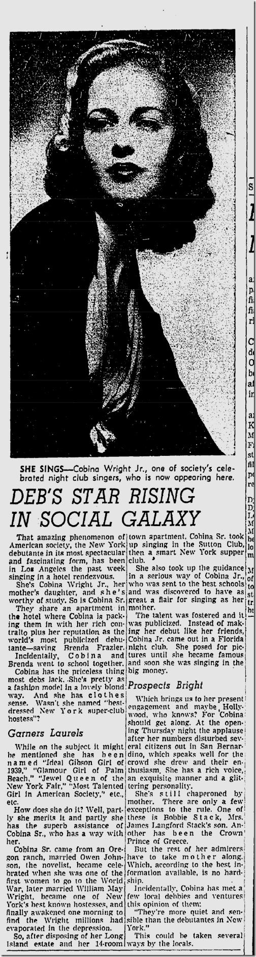 Oct. 8, 1939, Cobina Wright Jr.