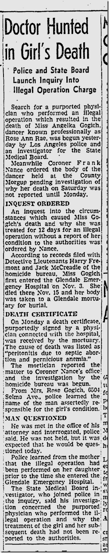 Nov. 19, 1941, Abortion