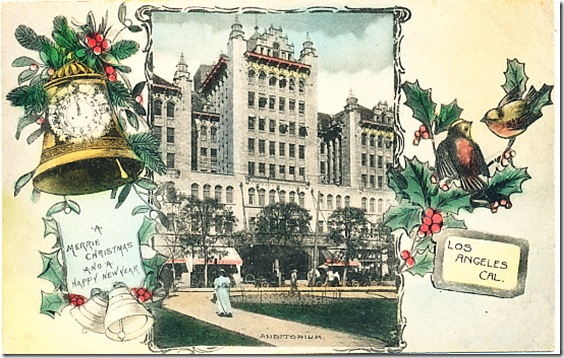 Christmas Card, 1911, Philharmonic Auditorium
