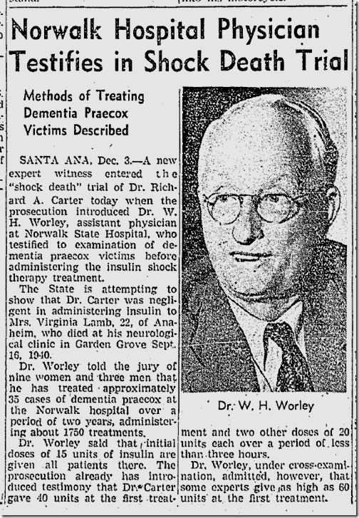 Dec. 4, 1941, Insulin Shock