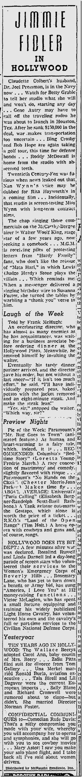 Dec. 15, 1941, Jimmie Fidler
