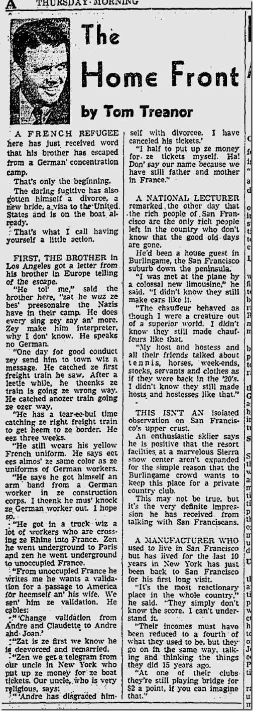 Dec. 4, 1941, Tom Treanor