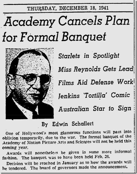 Dec. 18, 1941, Academy Awards