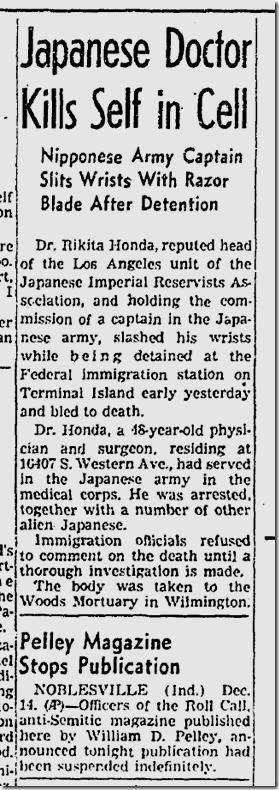 Dec. 15, 1941, Rikita Honda suicide