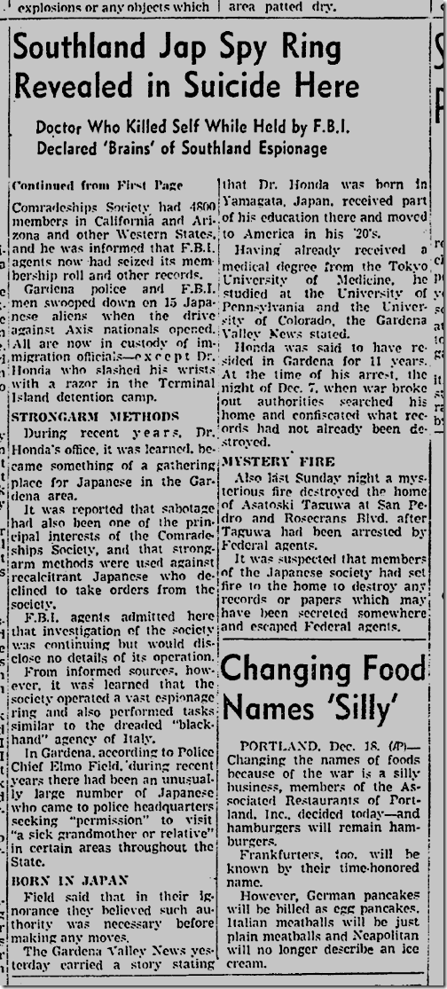 Dec. 19, 1941, Spy Ring
