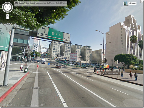 5th and Olive in downtown Los Angeles