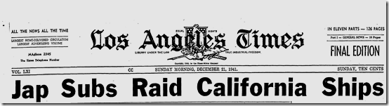 Dec. 21, 1941, Raids on California Ships