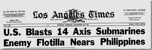 Dec. 22, 1941, Axis Subs