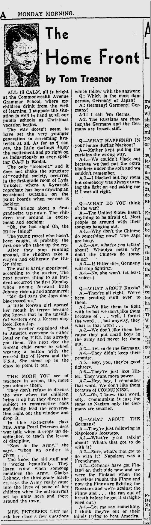 Dec. 22, 1941, Tom Treanor