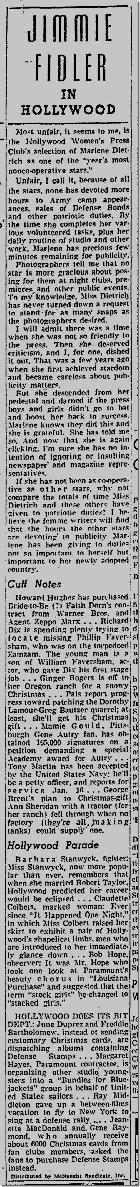Dec. 22, 1941, Jimmie Fidler