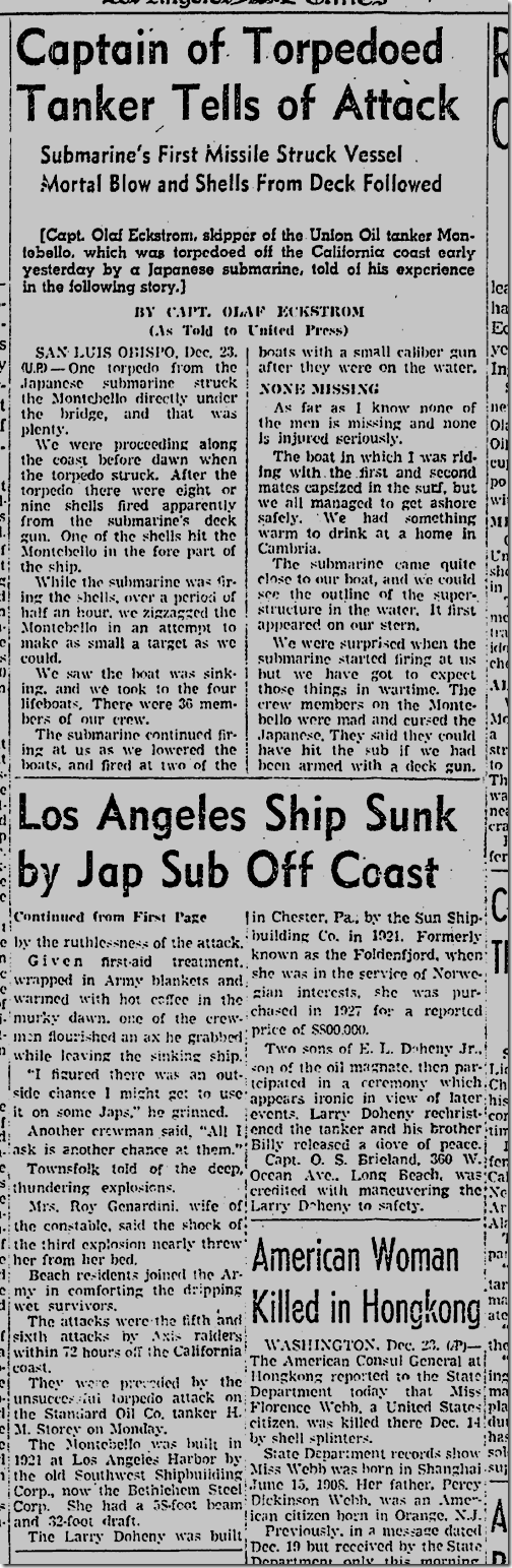 Dec. 24, 1941, Enemy Sub Sinks Ship