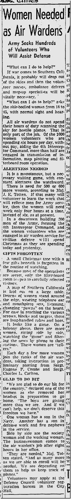 Dec. 24, 1941, Women Needed as Air Raid Wardens