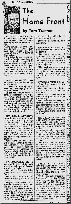 Dec. 5, 1941, Tom Treanor