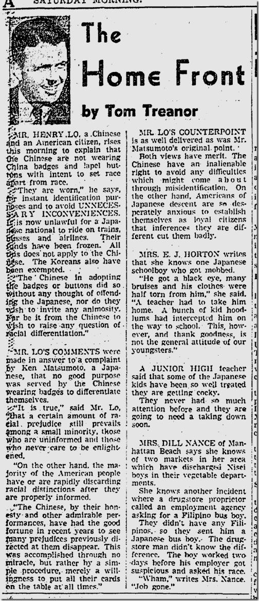 Dec. 27, 1941, Tom Treanor