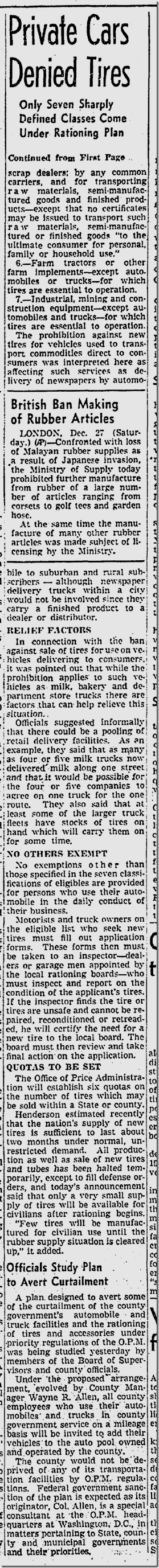 Dec. 27, 1941, Tire Rationing
