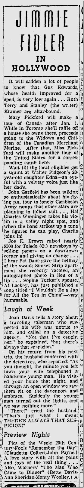 Dec. 27, 1941, Jimmie Fidler